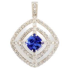 Diamond and Tanzanite Pendant in 18 KT White Gold