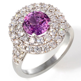 Pink Sapphire and Diamond Cocktail Ring in 18 KT White Gold