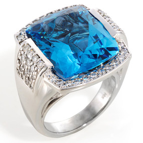 Blue Topaz and Diamond Cocktail Ring in 14 KT White Gold