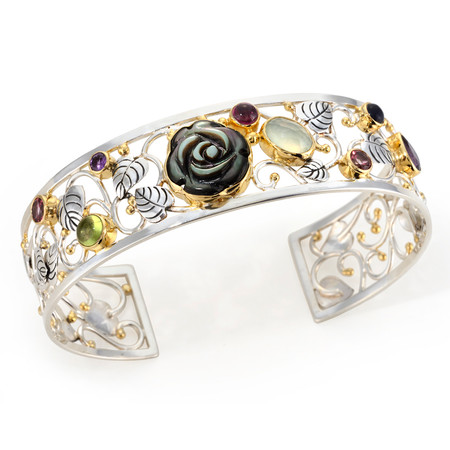 GEMSTONE AND VERMEIL (STERLING SILVER & 22 KT YELLOW GOLD) CUFF BRACELET