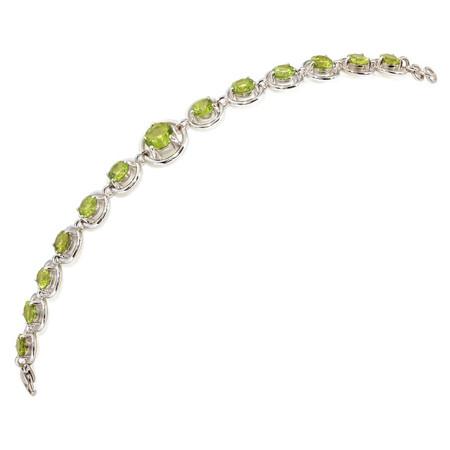 Peridot Line Bracelet In 14 KT White Gold