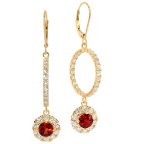 Oregon Sunstone and Diamond Hoop and Dangle Earrings in 18 KT Yellow Gold