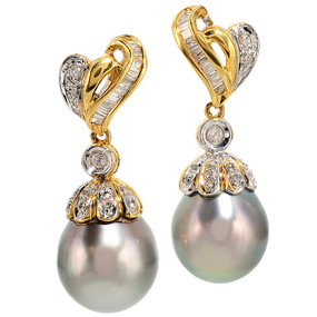 Tahitian Pearl And Diamond Dangling Earrings In 18 KT Yellow Gold