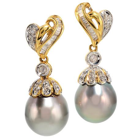 Tahitian Pearl And Diamond Dangling Earrings In 18 KT Yellow Gold