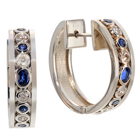 Sapphire and Diamond Hoop Earrings in 14 KT White Gold
