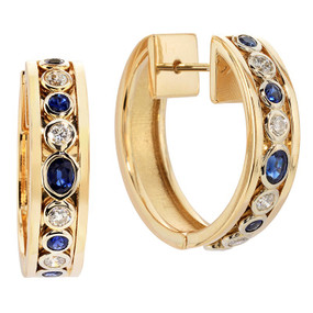 Sapphire and Diamond Hoop Earrings in 14 KT Yellow Gold