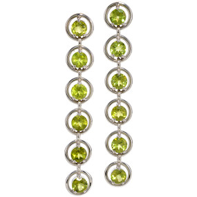 Peridot Dangling Earrings in 14 KT White Gold