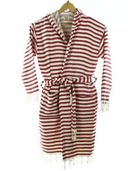 CHEVRON beachrobe bathrobe  red hooded