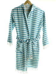 CHEVRON beachrobe bathrobe turquoise hooded