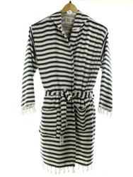 CHEVRON beachrobe bathrobe black