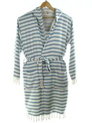 CHEVRON ooded beachrobe bathrobe blue