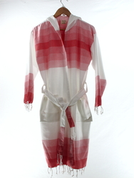 TANGO - Turkish Towel Hooded Beachrobe Bathrobe, Red