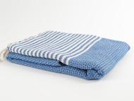 BASKET WEAVE Turkish Towel Royal Blue