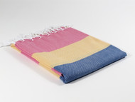 Carnival Turkish Towel Peshtemal Pink-Yellow-Navy