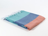 Carnival Turkish Towel Peshtemal Turquoise-Navy-Orange