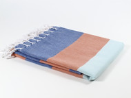 Carnival Turkish Towel Peshtemal Navy-Orange-Turquoise