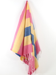 Carnival Turkish Hand Towel, Tea Towel, Headwrap, Pink-Yellow-Navy