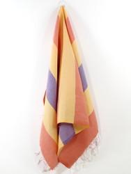 Carnival Turkish Hand Towel, Tea Towel, Headwrap, Orange-Yellow-Purple