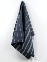 Classic Turkish Hand Towel, Tea Towel, Headwrap, Navy