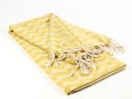 Waves Turkish Towel, Peshtemal, Yellow