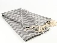 Waves Turkish Towel, Peshtemal, Gray