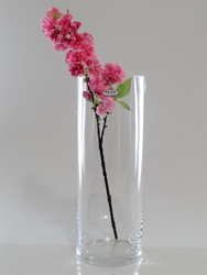 cylindrical glass vase H40cm D15cm