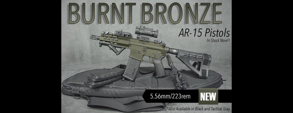 Burnt Bronze AR-15 Pistols In Stock Now!!