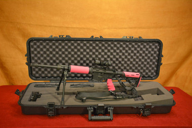 Pink AeroPrecision AR-15 SuperKit Hogue Free Float Rail on Open Case