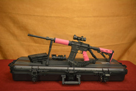 Pink AeroPrecision AR-15 SuperKit Hogue Free Float Rail Left Side With Magazines and Scope with Plano Case