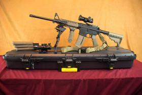 Smith & Wesson M&P 15 Sport 2 FDE Left Side On Plano Case With Magpul Magazines and Vector Optics Scope