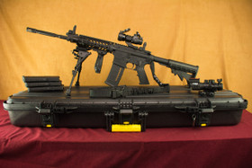 Adams Arms Piston Rifle SuperKit! Left Side On Plano Case with Magpul Magazines and 4X Scope