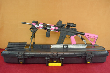 "Diamondback Pink Camo 13"" Free Float Rail Left Side on Plano Case"
