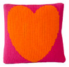 "Heart Throw Pillow -Knitted Acrylic Wool 15"" x 15"" (shown Fuschia/Accent Neon Orange)"