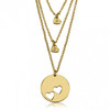 24K Gold Plated  Engraved Heart Necklace Set