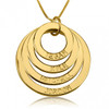 Personalized Four Ring Engraved Circle Necklace - 24K Gold Plated
