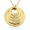 Personalized Five Ring Engraved Circle Necklace - 24K Gold Plated