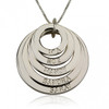Personalized Five Ring Engraved Circle Necklace - Sterling Silver