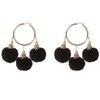 Fiesta Pom Pom Earrings Black