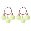 Fiesta Pom Pom Earrings Neon Yellow