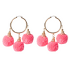 Fiesta Pom Pom Earrings Neon Pink