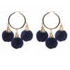Fiesta Pom Pom Earrings Navy