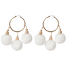 Fiesta Pom Pom Earrings White