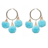Fiesta Pom Pom Earrings Aqua