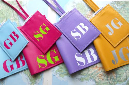 Sasha Luggage Tag & Mia Passport Cover Set, Customized Leather Passport & Tag Set