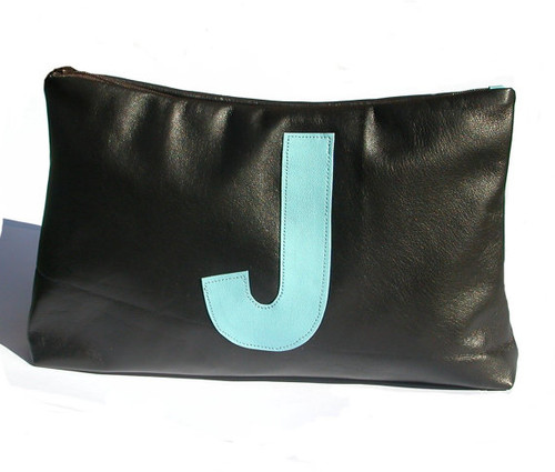 Parola Single Initial Personalized Leather Toiletry Bag, Personalized Leather Wash Bag, Supersized Cosmetic Bag