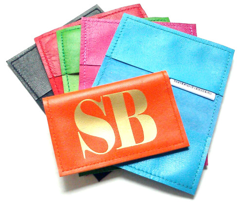 Metro Personalized Leather Business Card Holder, Oyster Card Holder