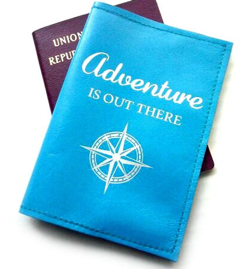 Leather Passport Cover - Adventure Is Out There