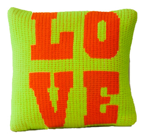 """Love Throw Pillow -Knitted Acrylic Wool 15"""" x 15"""" (shown neon green/neon orange accent color)"""