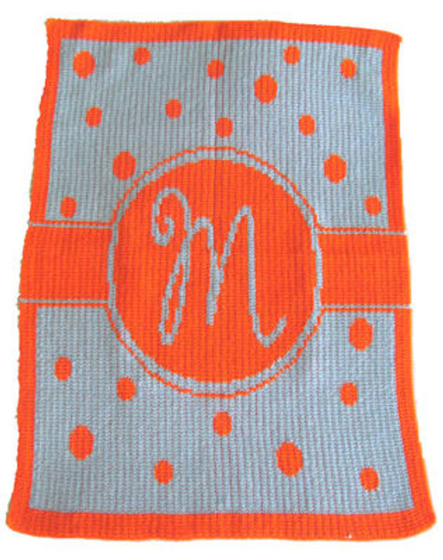 Personalized Single Initial Polka Dot Cashmere or Acrylic Blanket