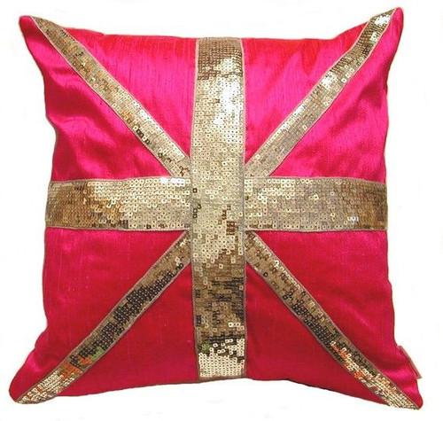 hot pink silk shantung u0026 sequin union jack cushion u0026 throw pillow